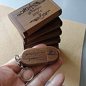 Сувениры и подарки handmade. Livemaster - original item Wooden flash drive with engraving in a box, a gift made of wood. Handmade.