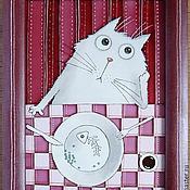 """Картины и панно ручной работы. Ярмарка Мастеров - ручная работа Витражная роспись """"Накормите кота!"""" витражная картина Кот. Handmade."""