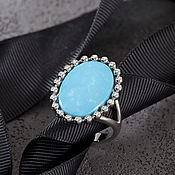 Украшения handmade. Livemaster - original item Exquisite gold ring with natural turquoise and diamonds. Handmade.
