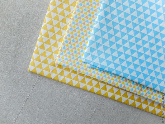 Шитье ручной работы. Ярмарка Мастеров - ручная работа. Купить Корейский хлопок ткани-компаньоны Треугольники желто-голубой. Handmade.