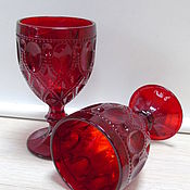 Бокалы для вина 6 шт  Cтекло цветное  рубин n3