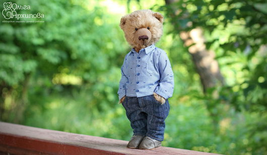 Мишка Дима - авторский мишка Тедди в одежде (джинсы и рубашка) и обуви