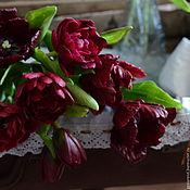 "Цветы и флористика handmade. Livemaster - original item A bouquet of clay""Marsala"" .Tulips and scabiosa.. Handmade."