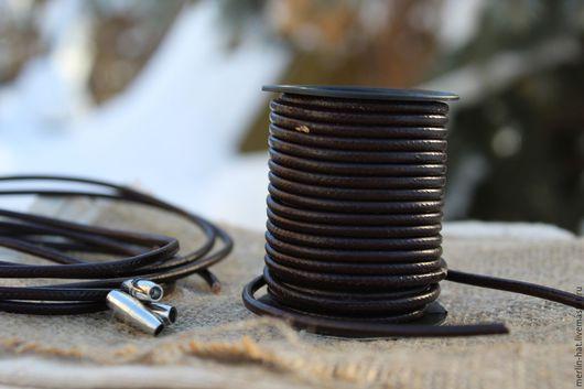 Для украшений ручной работы. Ярмарка Мастеров - ручная работа. Купить Кожаный шнур коричневый 3 мм. Handmade. Шнурок