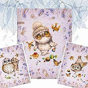 Для дома и интерьера handmade. Livemaster - original item A set of towels made of matting with owlets