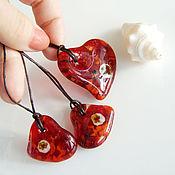 Украшения handmade. Livemaster - original item Glass Heart pendant. Fusing jewelry. Handmade.
