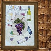 Картины и панно handmade. Livemaster - original item Cross stitch a bunch of grapes. Handmade.