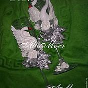 Свадебный салон ручной работы. Ярмарка Мастеров - ручная работа Бокалы на серебряную свадьбу. Handmade.