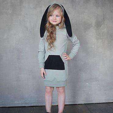 """Работы для детей, ручной работы. Ярмарка Мастеров - ручная работа Платье с ушками """"Bunny"""" олива с черным. Handmade."""