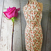Платья ручной работы. Ярмарка Мастеров - ручная работа .Розы.. Платье футляр хлопок. Handmade.