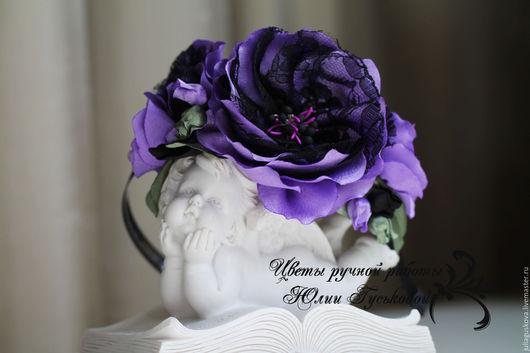 Диадемы, обручи ручной работы. Ярмарка Мастеров - ручная работа. Купить Ободок  с цветами. Handmade. Сиреневый, цветы из ткани, кружево