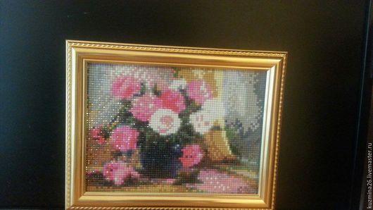 Картины цветов ручной работы. Ярмарка Мастеров - ручная работа. Купить Алмазная мозаика. Handmade. Комбинированный, алмазная мозаика купить