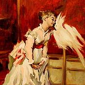 """Картины ручной работы. Ярмарка Мастеров - ручная работа Картина маслом """"Девушка с попугаем"""". Handmade."""