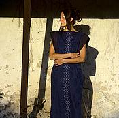 Одежда handmade. Livemaster - original item Embroidered patterned Linen sleeveless floor length loose maxi Dress. Handmade.