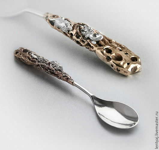 """Ложки ручной работы. Ярмарка Мастеров - ручная работа. Купить Серебряная ложка """"Мышки в сыре"""" №2 плюс подарок. Handmade."""