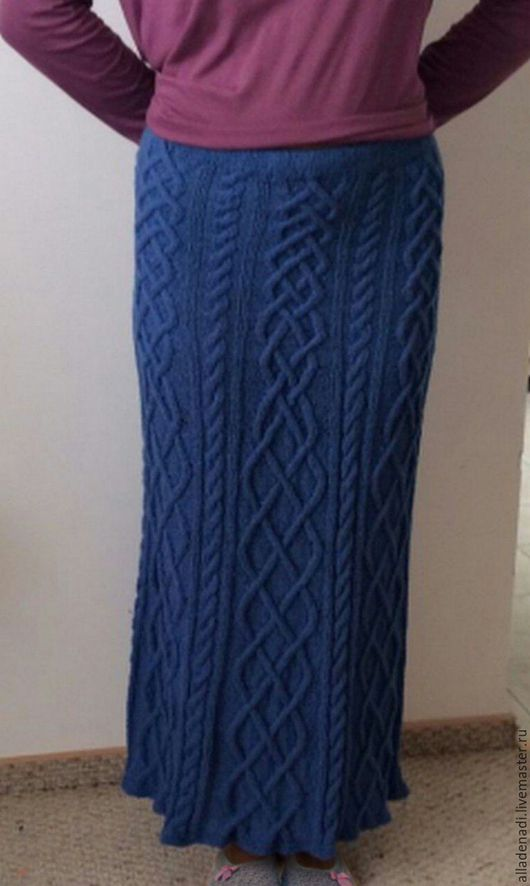 Юбки ручной работы. Ярмарка Мастеров - ручная работа. Купить вязаная юбка. Handmade. Вязание спицами, синий, хлопок с вискозой