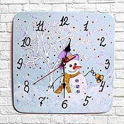 Подарки к праздникам handmade. Livemaster - original item Children`s wall clock Snowman Winter handmade watches. Handmade.