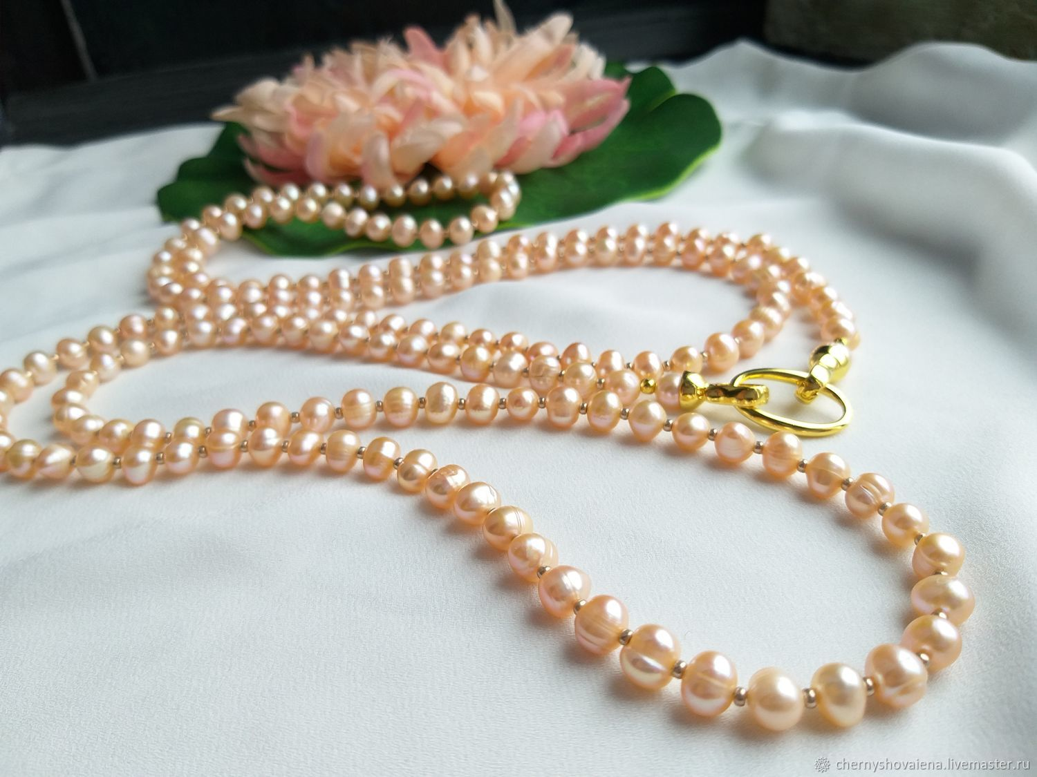 150 cm long transformer beads made of peach pearls, Necklace, Moscow,  Фото №1
