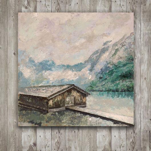 Пейзаж ручной работы. Ярмарка Мастеров - ручная работа. Купить картина акрилом горы Швейцарии (мятный, серый цвет, горный пейзаж). Handmade.