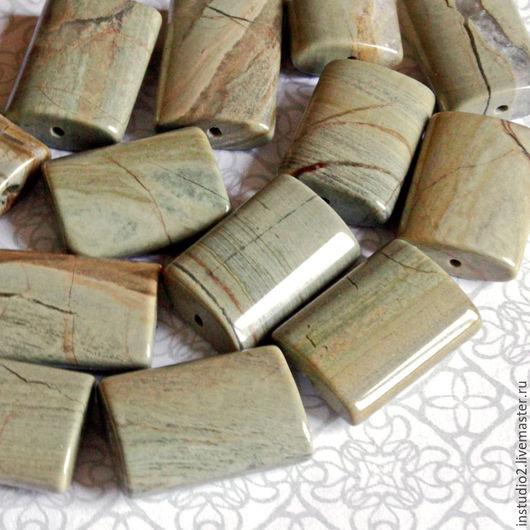 Для украшений ручной работы. Ярмарка Мастеров - ручная работа. Купить Яшма оливковая 21х14 мм прямоугольная - бусины камни для украшений. Handmade.