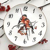 Для дома и интерьера handmade. Livemaster - original item Clock painting Clock on the wall bullfinch. Handmade.