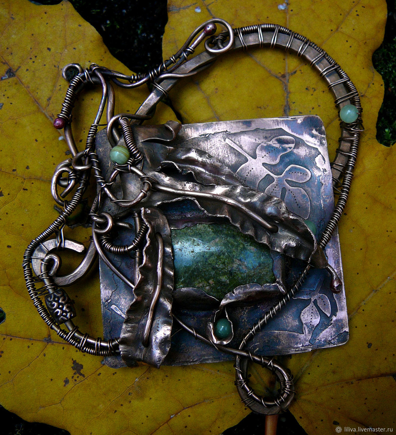 """Copper wire wrapped brooch-transformer """"In the depth of the forest-2"""", Necklace, St. Petersburg,  Фото №1"""