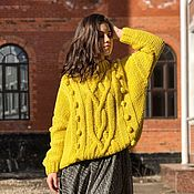 Одежда handmade. Livemaster - original item Jumpers: Women`s knitted jumper in lemon color oversize. Handmade.