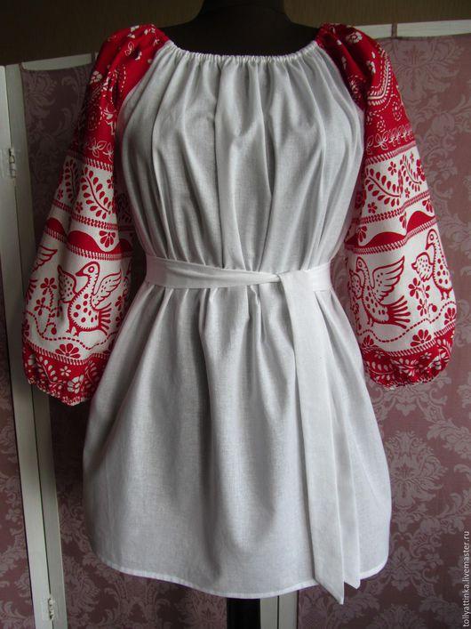 """Одежда ручной работы. Ярмарка Мастеров - ручная работа. Купить Блуза в фольклорном стиле """"Голубки"""". Handmade. Комбинированный, орнамент, блуза"""