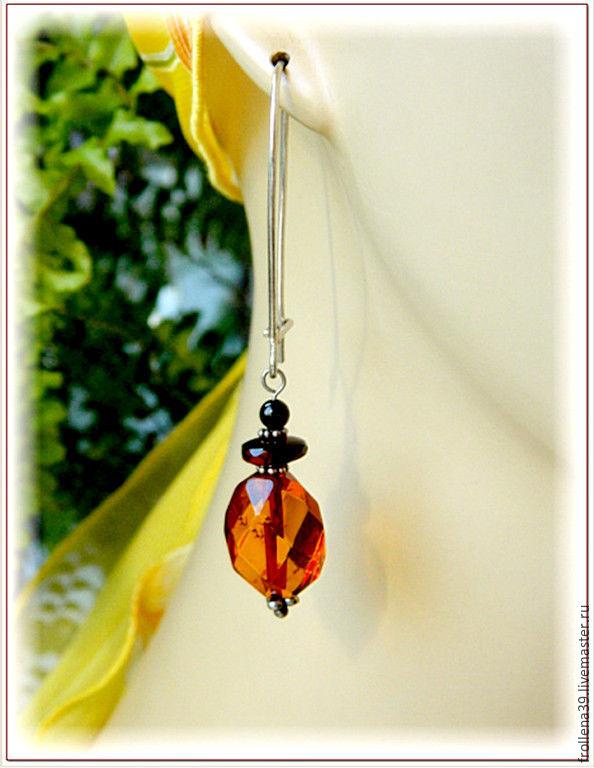 Earrings 'light' amber silver, Earrings, Moscow,  Фото №1