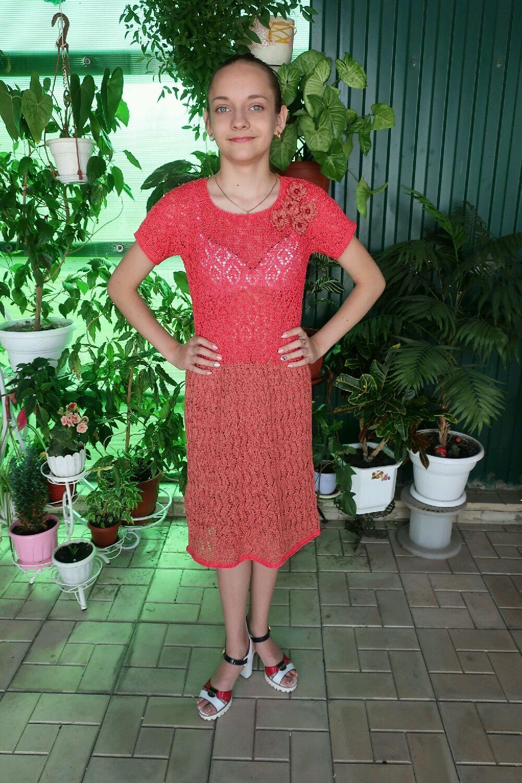 Платье из хлопка Коралловый риф для девочки 15 -16 лет, Платье, Лебедянь,  Фото №1