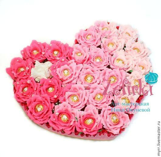 Букеты ручной работы. Ярмарка Мастеров - ручная работа. Купить Подарок на бумажную свадьбу 2 года на годовщину свадьбы сердце из роз. Handmade.