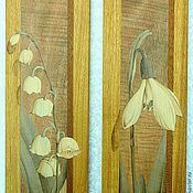 """Картины и панно ручной работы. Ярмарка Мастеров - ручная работа Комплект """"Белые цветы"""" шпон-маркетри. Handmade."""