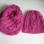 Аксессуары ручной работы. Ярмарка Мастеров - ручная работа Комплект шапка и снуд с косами розовый фуксия. Handmade.