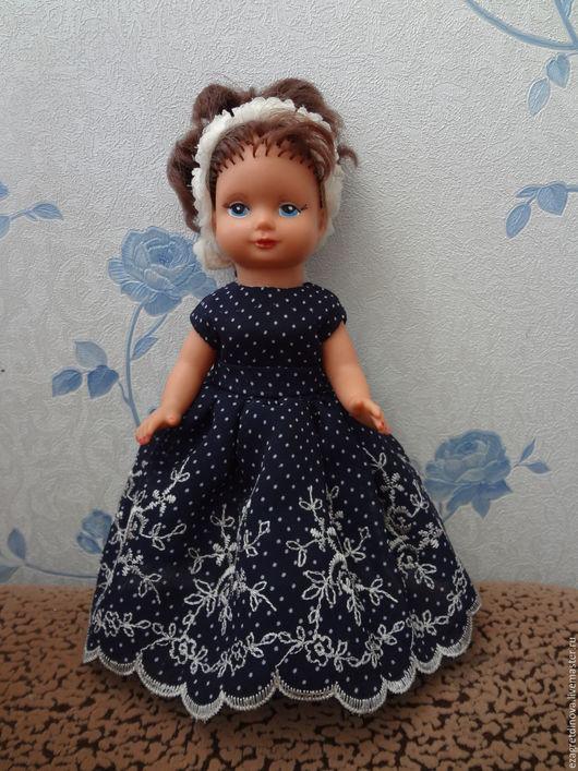 Одежда для кукол ручной работы. Ярмарка Мастеров - ручная работа. Купить Платье для кукол ГДР 20 см.. Handmade. Синий