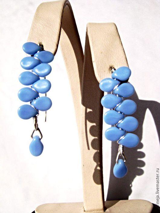 Серьги ручной работы. Ярмарка Мастеров - ручная работа. Купить Серьги из серебра и чешского стекла-голубые. Handmade. Голубой