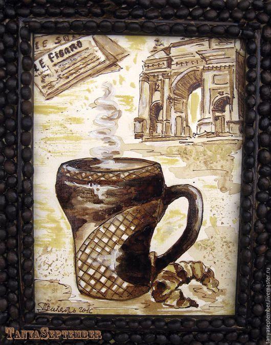 Фантазийные сюжеты ручной работы. Ярмарка Мастеров - ручная работа. Купить Кофейная картина ПАРИЖ И КОФЕ в раме из кофейных зерен. Handmade.