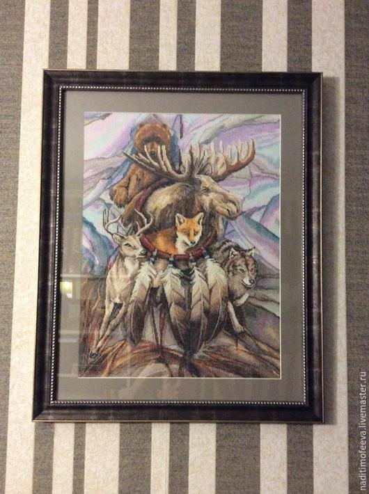 """Животные ручной работы. Ярмарка Мастеров - ручная работа. Купить Вышитая картина """"Ловец снов"""". Handmade. Коричневый, картина для интерьера"""