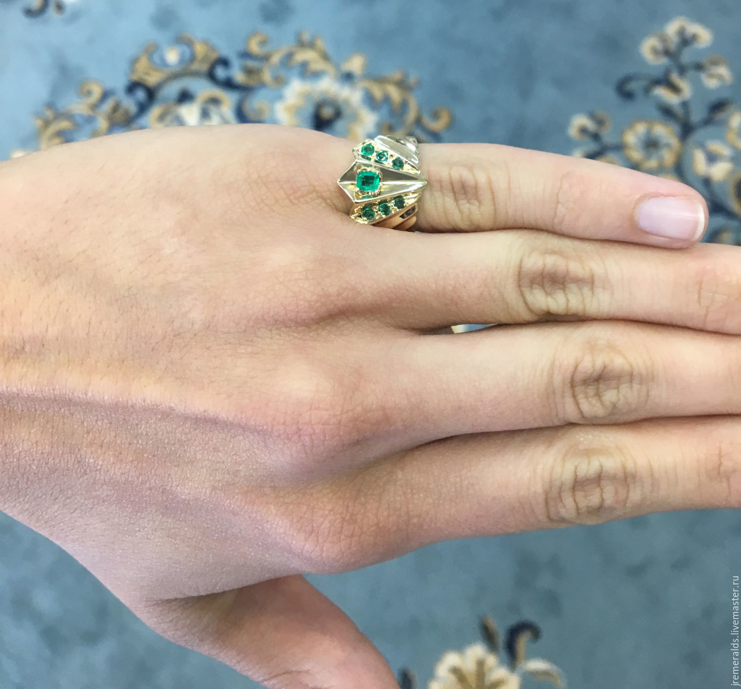 Rings Handmade 14k Colombian Emerald & Diamond Ring, Four Leaf Emerald  Ring