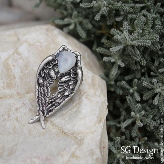 """Кольца ручной работы. Ярмарка Мастеров - ручная работа. Купить Кольцо серебряное """"Сердце Ангела"""" Лунный камень для Анны. Handmade."""