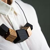 Украшения handmade. Livemaster - original item Geometric necklace made of rubber, brass and wood: bog oak.. Handmade.