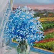"""Картины и панно ручной работы. Ярмарка Мастеров - ручная работа Картина-миниатюра маслом """"Голубое облако"""", яркие цветы. Handmade."""