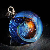 "Украшения handmade. Livemaster - original item Pendant ball ""A space flight "". Galaxy, planet. Cosmic Jewelry. Handmade."