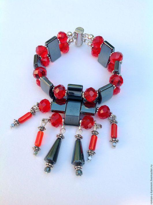 Комплект украшений из гематита и хрусталя в восточном стиле Пасодобль в черно - красной цветовой гамме. Уникальный подарок для стильных женщин и девушек.