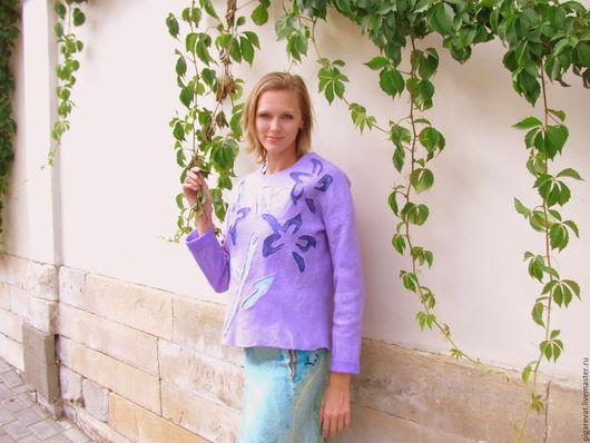 Кофты и свитера ручной работы. Ярмарка Мастеров - ручная работа. Купить Валяный свитер Лиловый. Handmade. Фиолетовый, женский