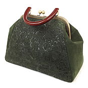 "Саквояж ручной работы. Ярмарка Мастеров - ручная работа Саквояж из замши ""Зимняя мята"" на фермуаре, замшевая сумка. Handmade."