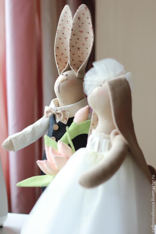 Куклы Тильды ручной работы. Ярмарка Мастеров - ручная работа. Купить Свадебная парочка.. Handmade. Бежевый, интерьерная игрушка, хлопок