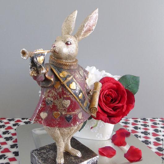 Статуэтки ручной работы. Ярмарка Мастеров - ручная работа. Купить Кролик  глашатай страна чудес Статуэтка. Handmade. Композиция для интерьера