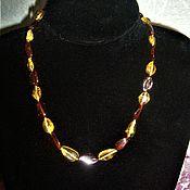 Украшения handmade. Livemaster - original item Beads made from natural stones, amber decoration on the neck. Handmade.
