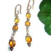 Украшения handmade. Livemaster - original item Amber earrings Ding Dong earrings long amber natural stones yellow. Handmade.