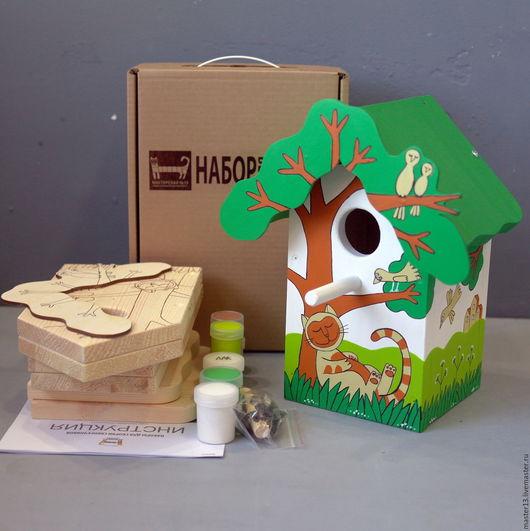"""Развивающие игрушки ручной работы. Ярмарка Мастеров - ручная работа. Купить Скворечник """"Рыжий кот"""" в виде набора для сборки с красками. Handmade."""